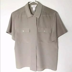 Jones New York Beige Tan Short Sleeved Blouse